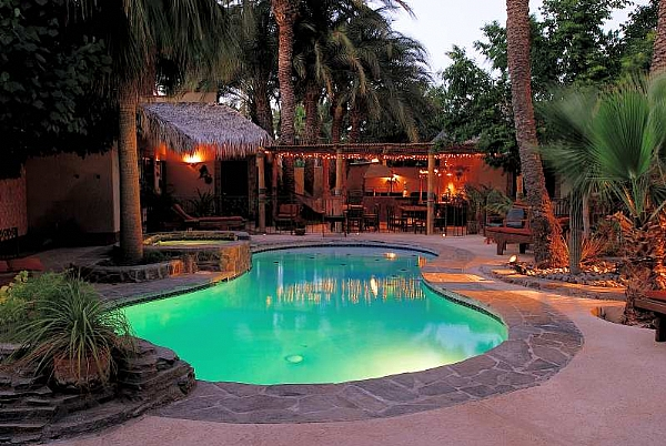 Pool, Hot Tub and Palapa at dusk